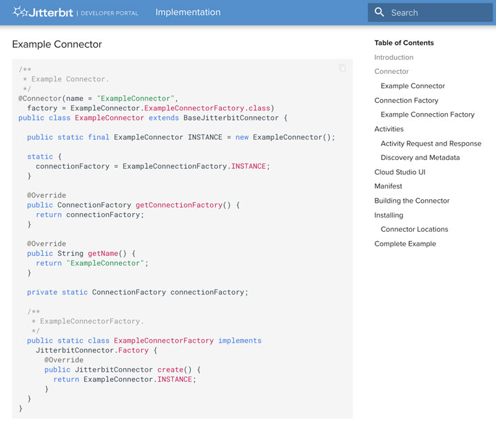 Connector SDK developer portal with sample code for creating custom connector.