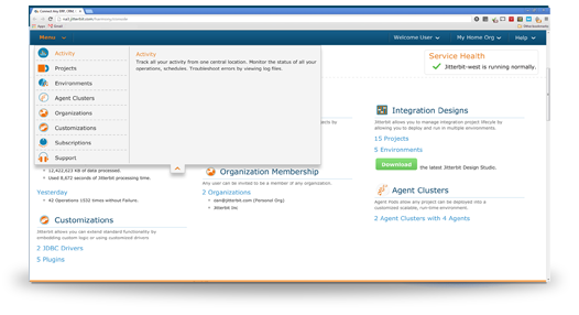 salesforce data loader harmony activity page screenshot